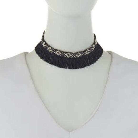 Panacea Geometric Woven Fringed Choker Necklace JJ3Zt